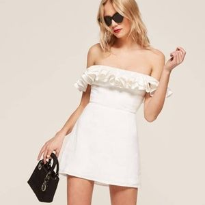 White Reformation Coral Dress